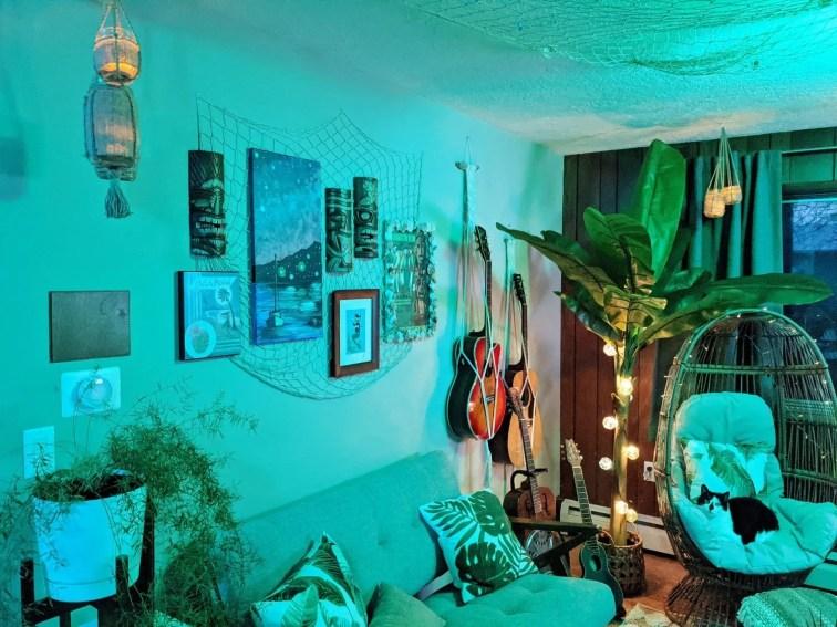 Tiki bar color-changing lighting and mid-century furniture