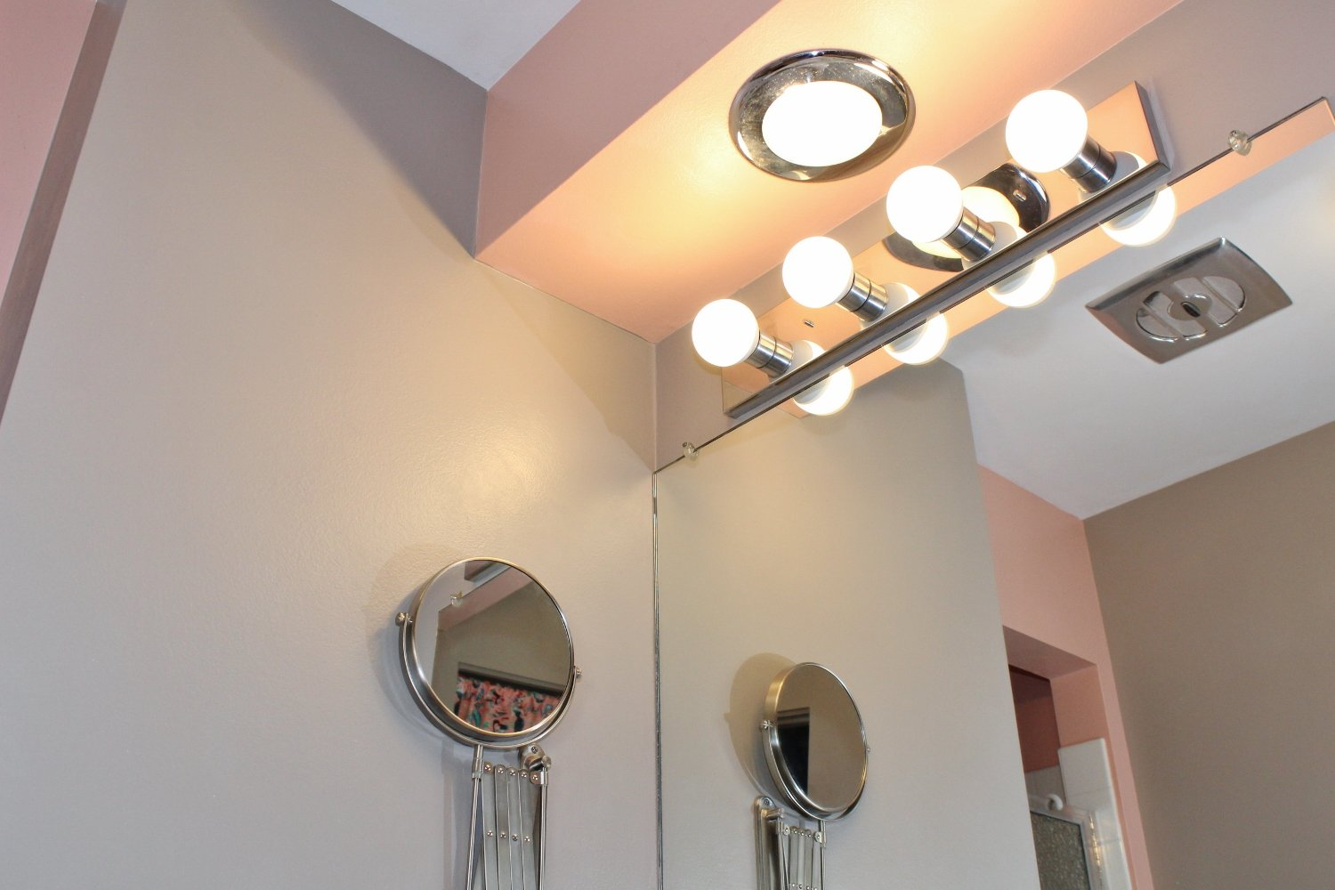 Pink and taupe paint in modern bathroom makeover
