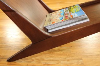 Mid-century modern coffee table with angled legs - West Elm Marcio Display Coffee Table