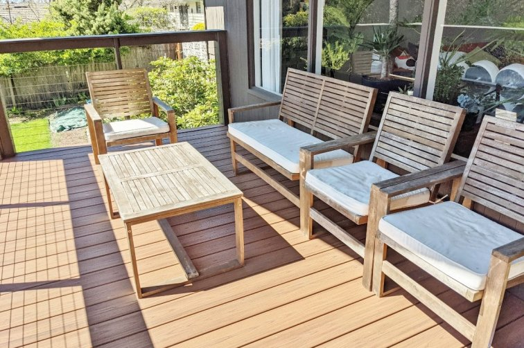 Weathered outdoor patio furniture before restoring