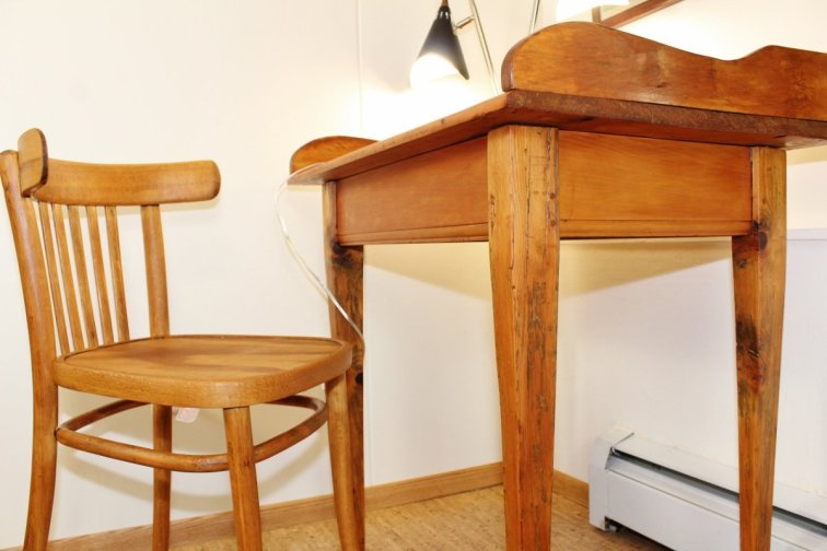 Mid-century desk restored with wood stain and beeswax polish