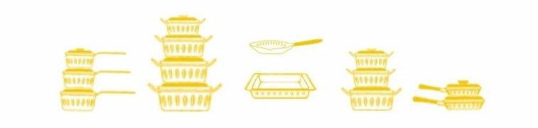 Cartoon sketch of Cathrineholm cookware