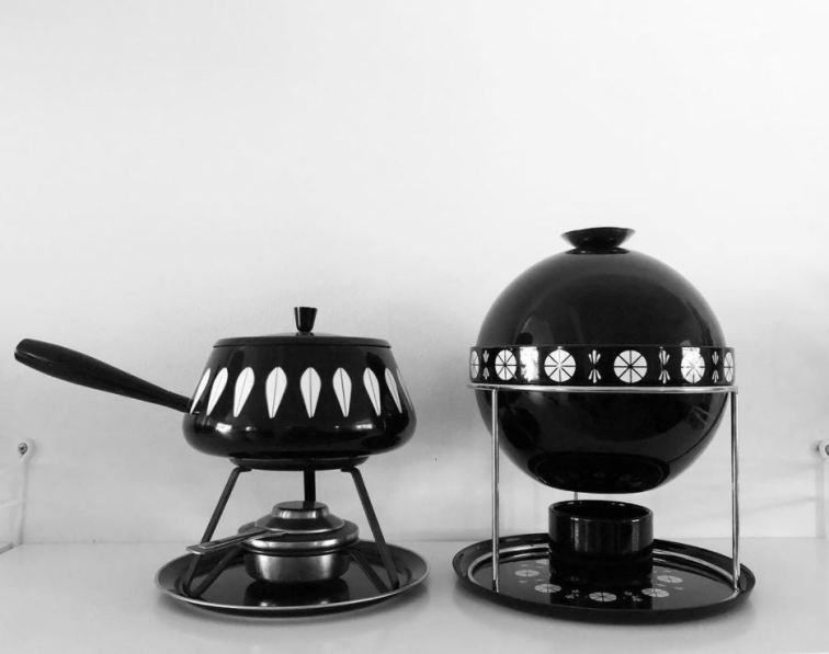 Cathrineholm black and white fondue sets - photo by Alexa Greaves