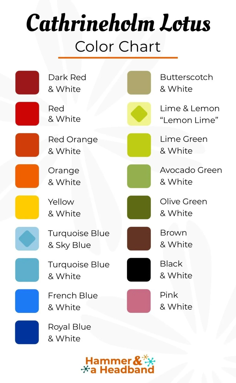 Cathrineholm lotus color chart showing the available colors