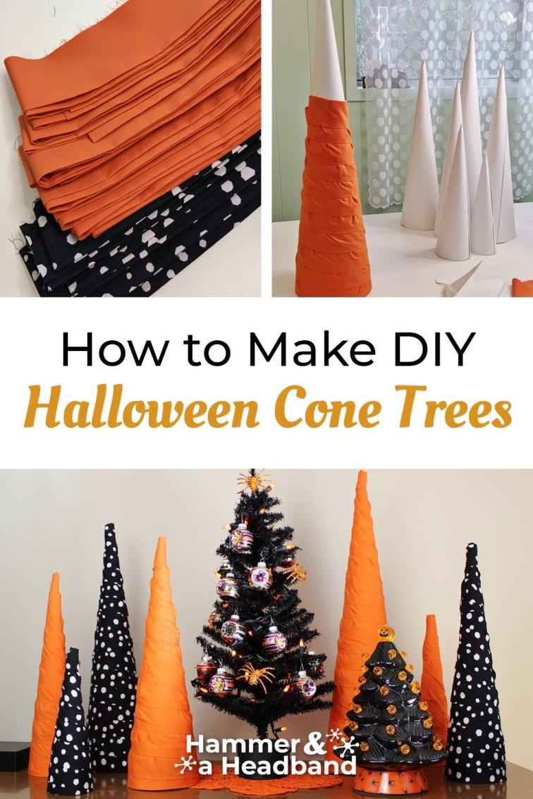 How to make DIY Halloween cone trees