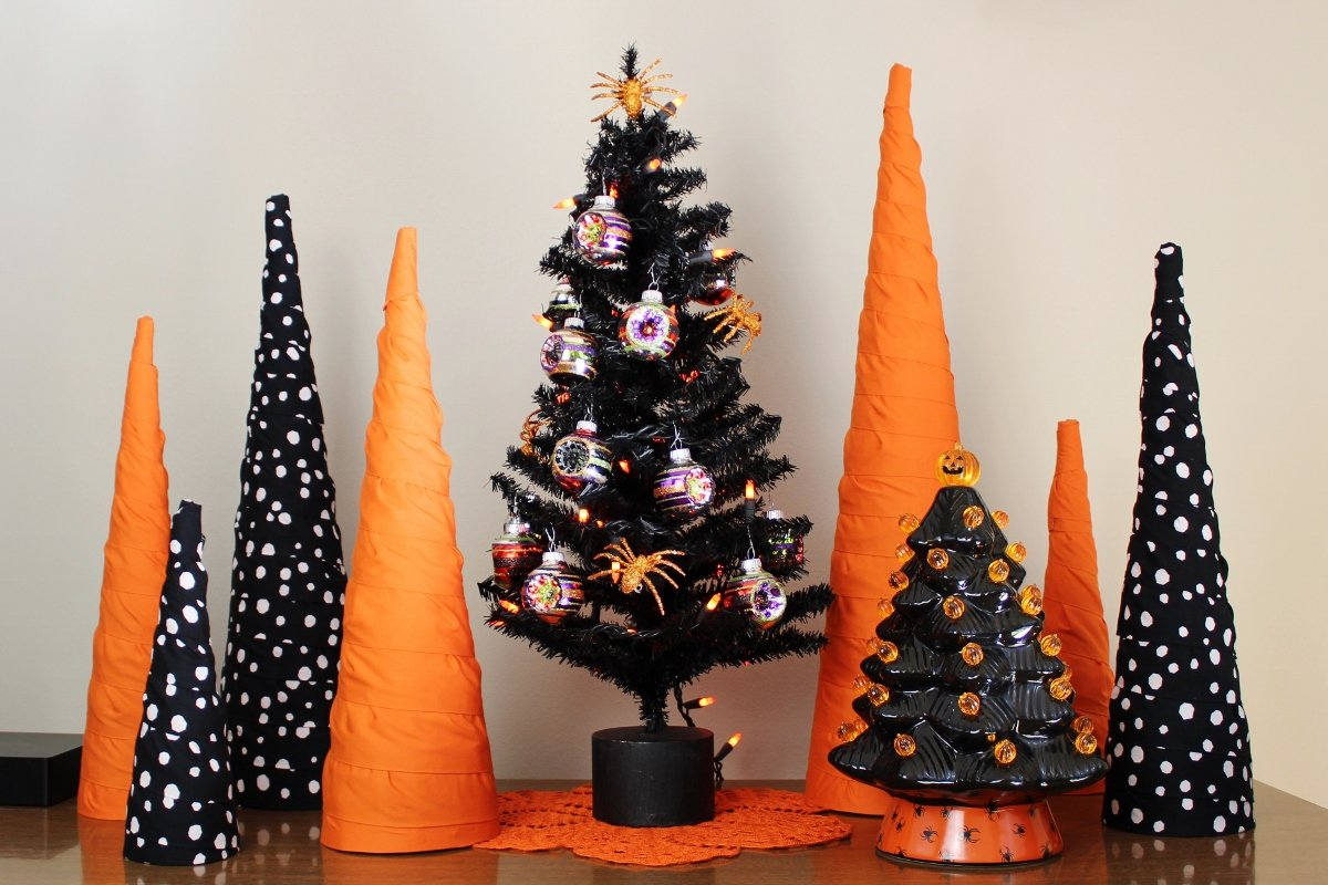 Halloween cone trees made with orange, black and white fabric