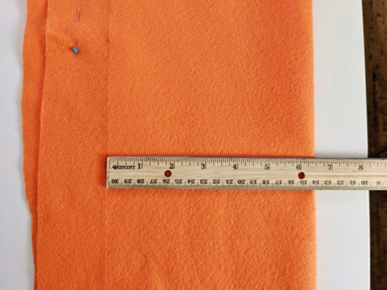 Measuring felt to cut table runner