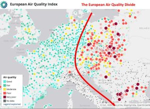 European Air quality divide - source: The Economist