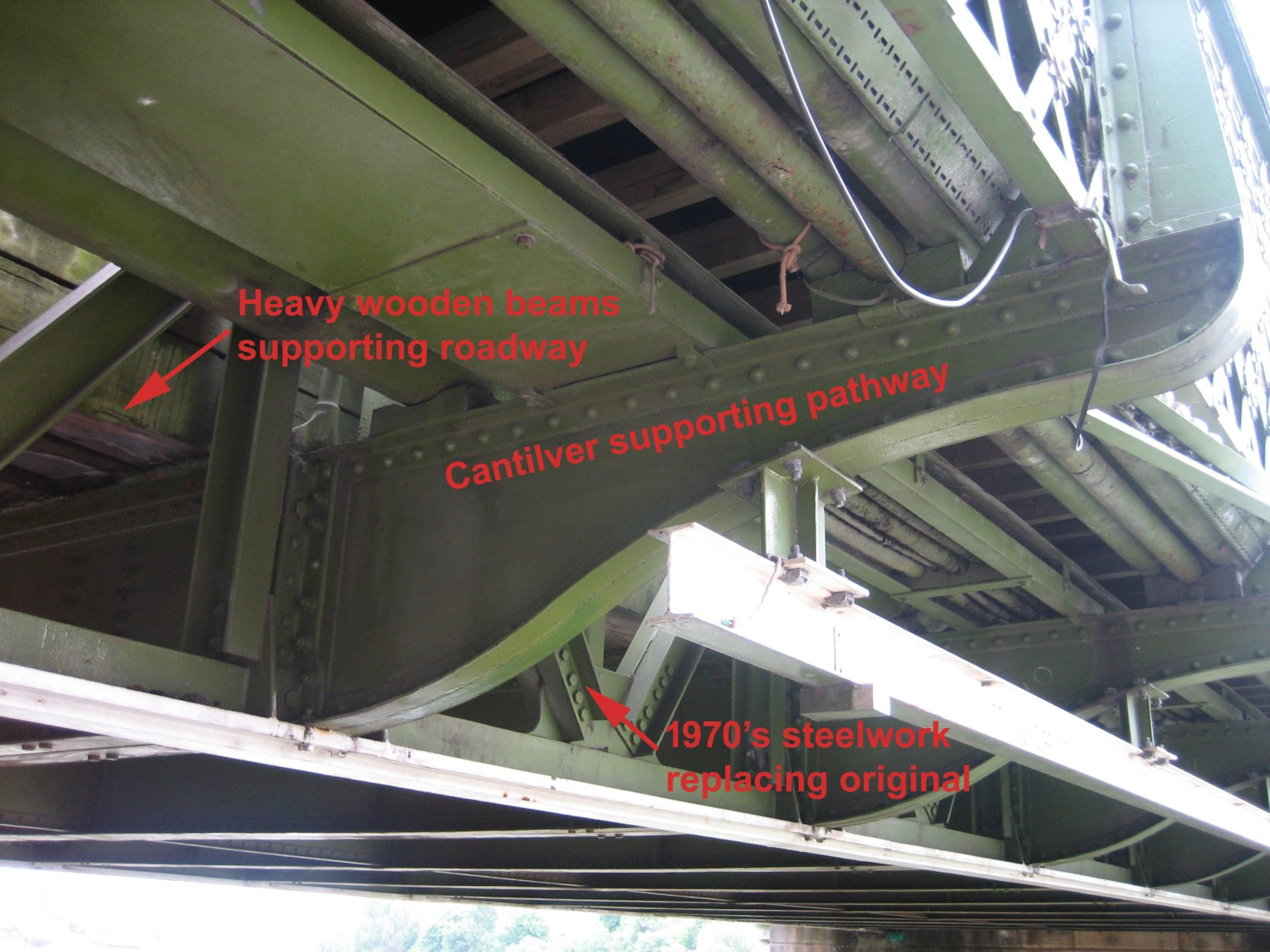 Hammersmith Bridge underside in May 2020