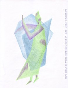 Eurythmy Figure M, hand-drawn by Marta Stemberger, based on Rudolf Steiner's indications
