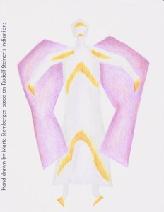 Eurythmy figure L, hand-drawn by Marta Stemberger, based on Rudolf Steiner's indications