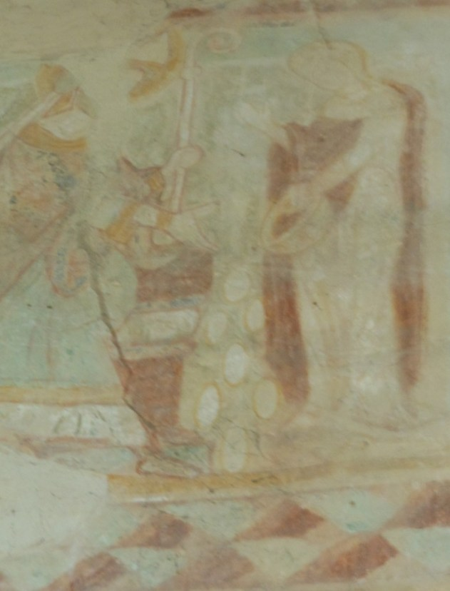 C13th Wall Painting Showing St Swithun & the Woman dropping her eggs on East Bridge Winchester