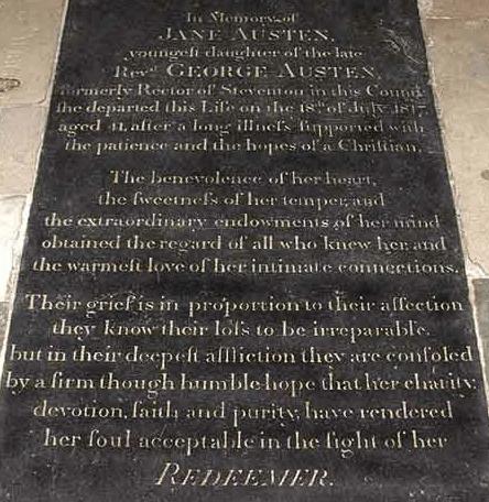 Jane Austen's Gravestone Winchester Cathedral