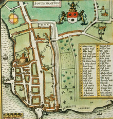 Southampton Castle on John Speeds map