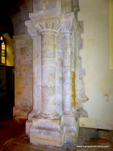 Norman architecture in East Meon church classic column