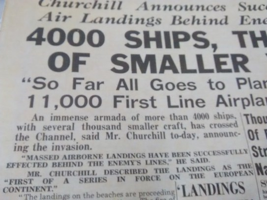 Evening Standard reports the deeds of the day and the invasion by the Allies on the Normandy Beaches with a flotilla of some 4,000 ships imagine that making its way across the Channel.