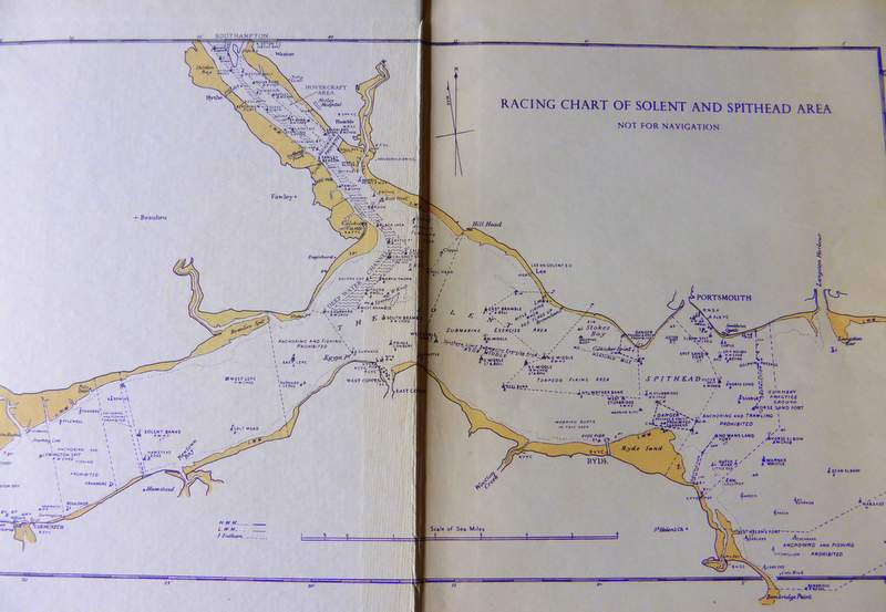 1950's Racing Chart of the Solent