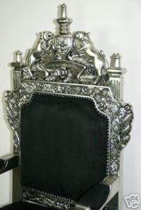 The Tudor Royal Throne Chair in Silver and Black