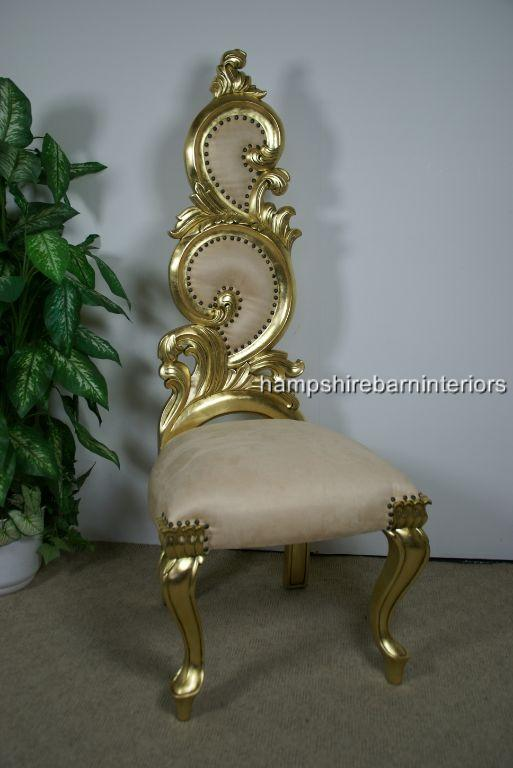 Renaissance Wedding Throne Chair in Gold Leaf and Cream