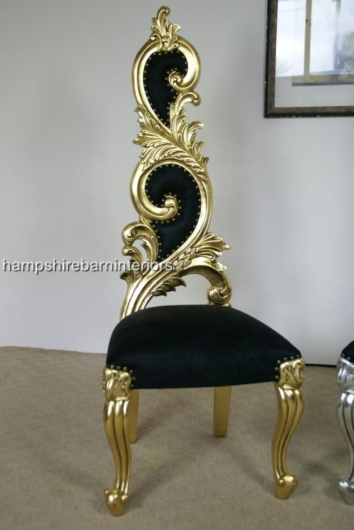 Renaissance Wedding Throne Chair In Gold Leaf And Black
