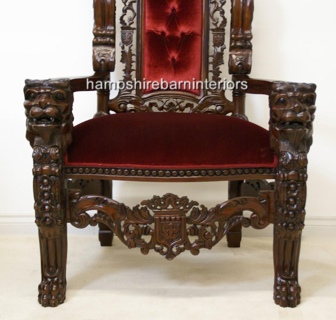 A GOTHIC LION KING THRONE CHAIR In Mahogany And Red Velvet