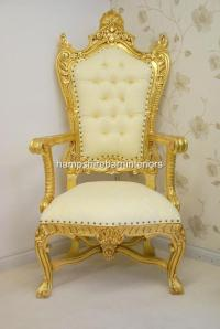 LARGE KINGS THRONE CHAIR in gold and cream | Hampshire ...