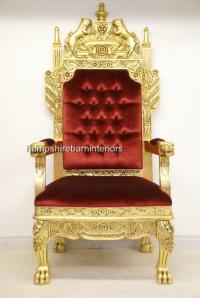 A Tudor Royal Throne Chair Gold and Red velvet | Hampshire ...