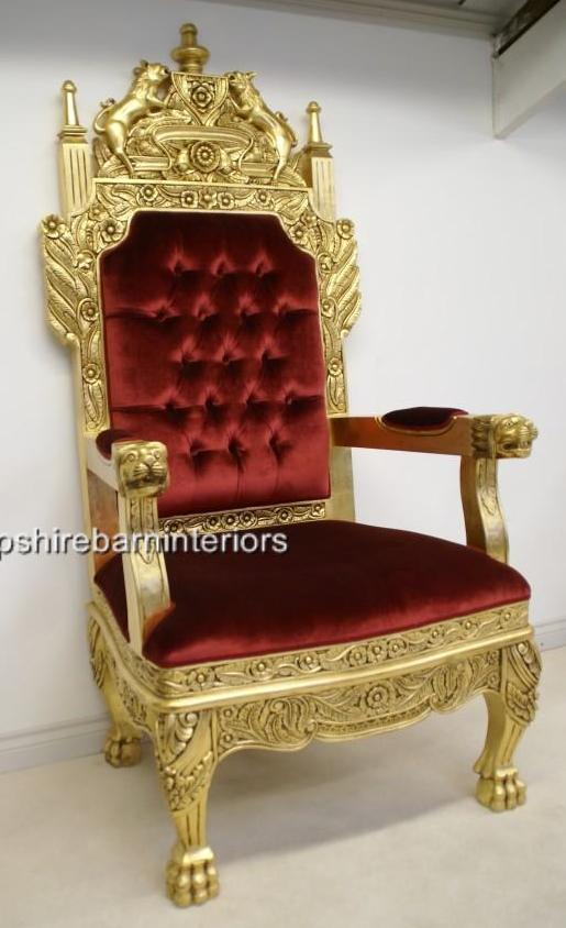 A Tudor Royal Throne Chair Gold and Red velvet