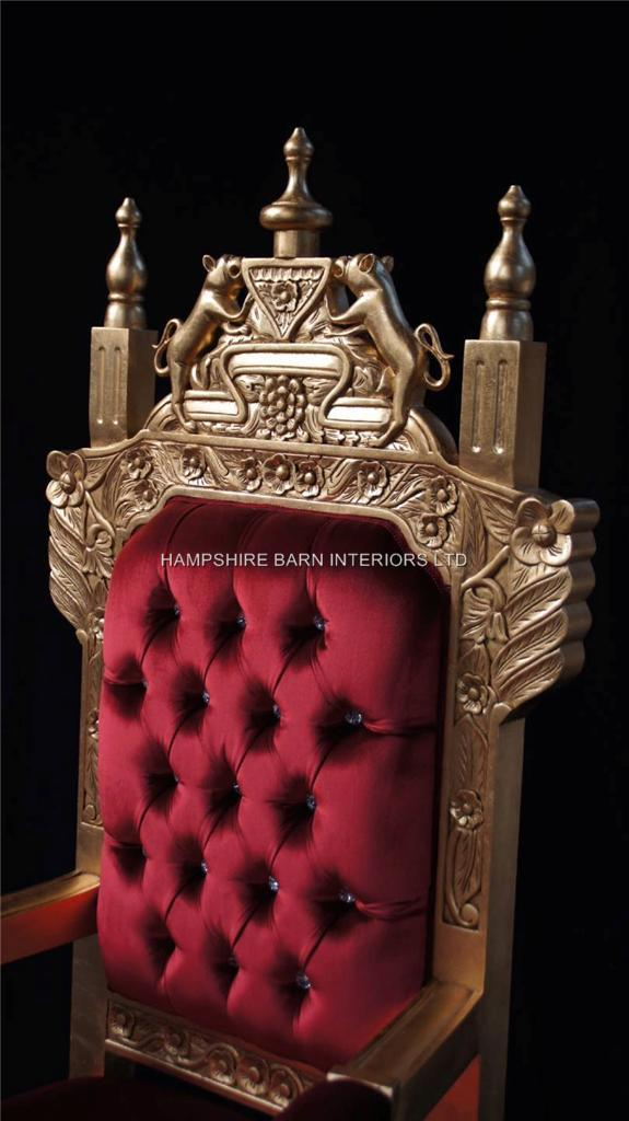 A Tudor Royal Throne Chair Gold and Red velvet  Hampshire