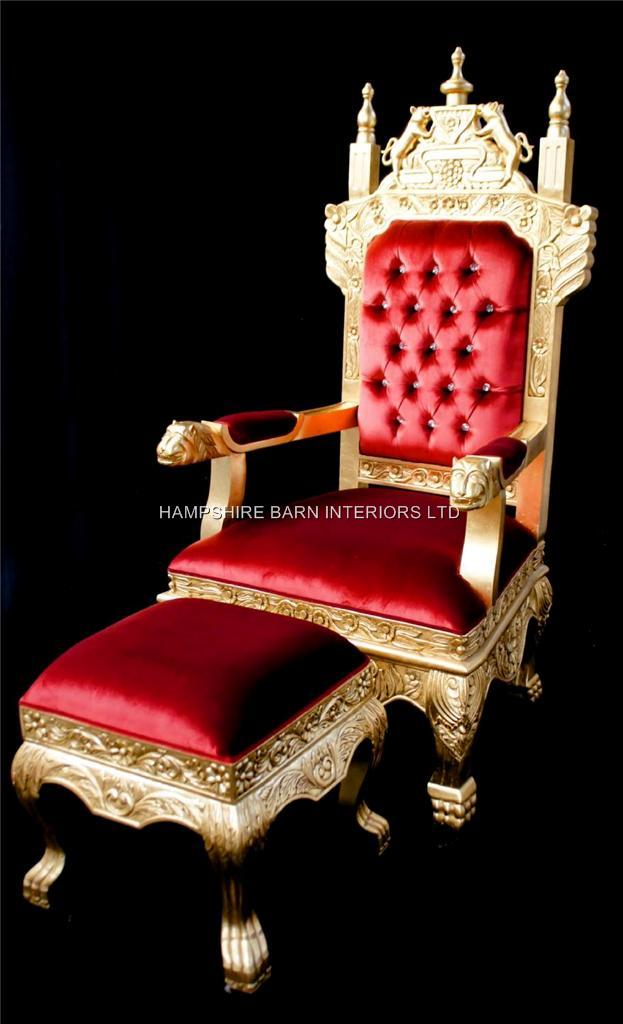 A Tudor Royal Throne Chair Gold and Red velvet  Hampshire Barn Interiors