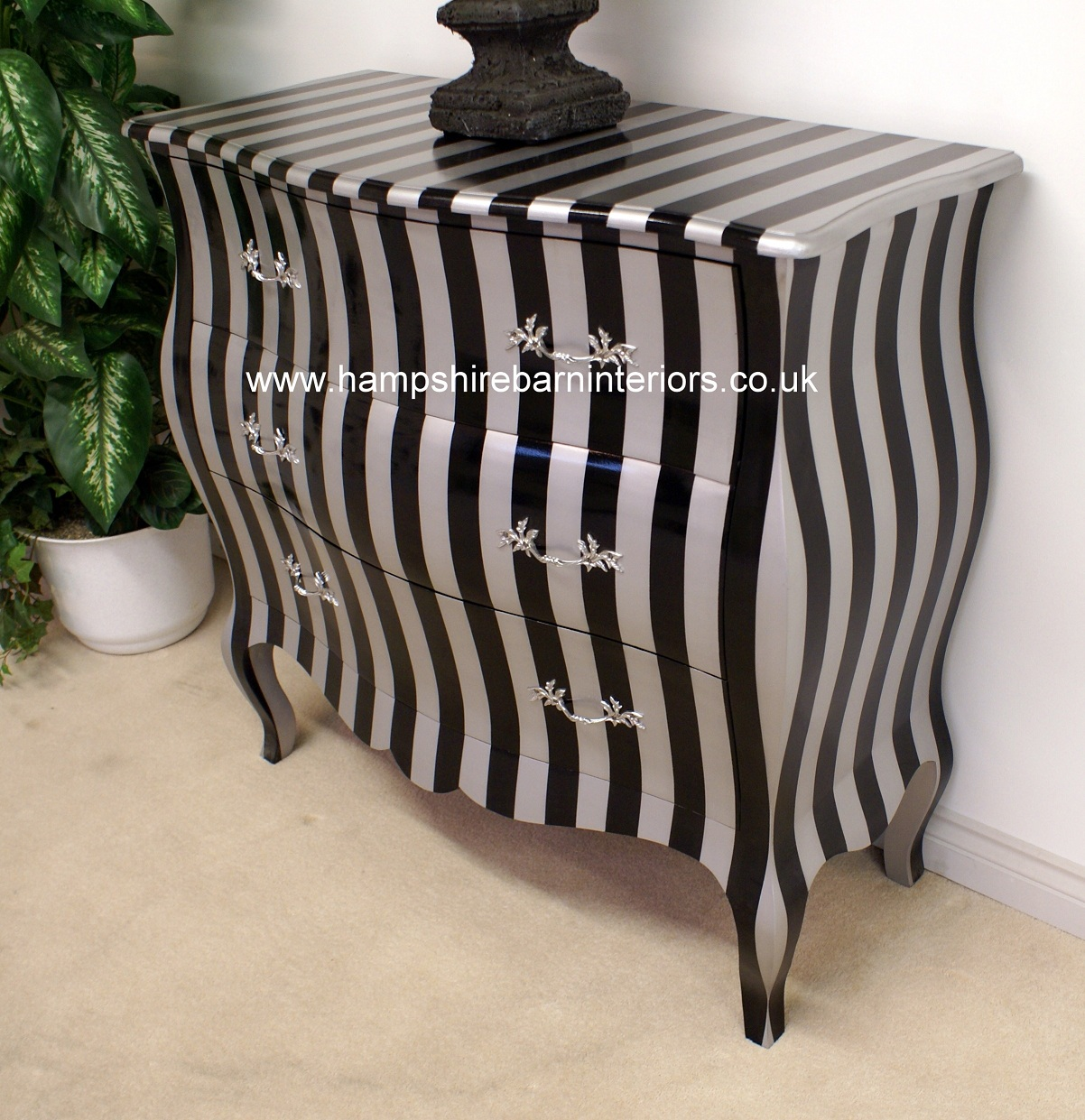 throne office chair kelly posture a black & silver stripe bombe chest of 3 drawers | hampshire barn interiors