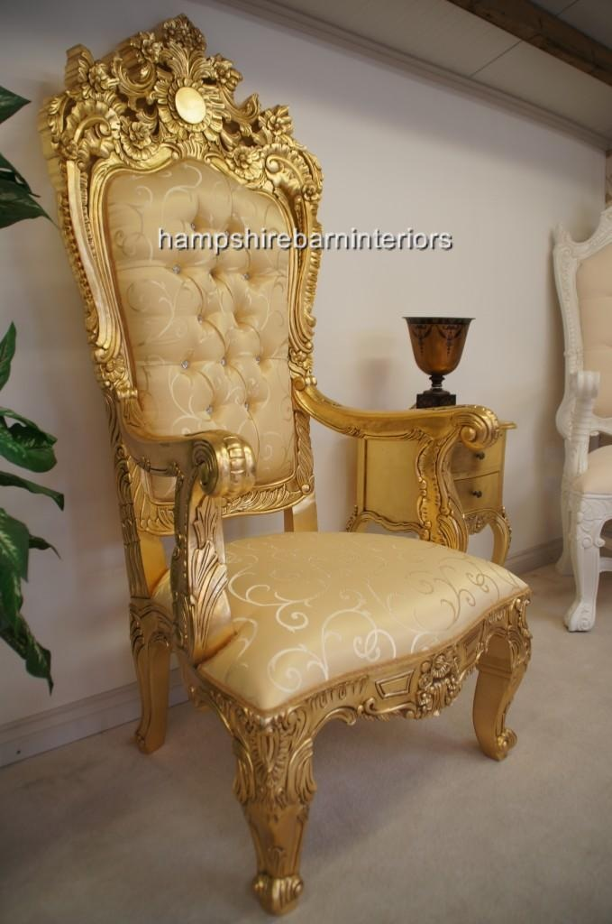 gold velvet chair maple dining room chairs a emperor rose large ornate throne | hampshire barn interiors