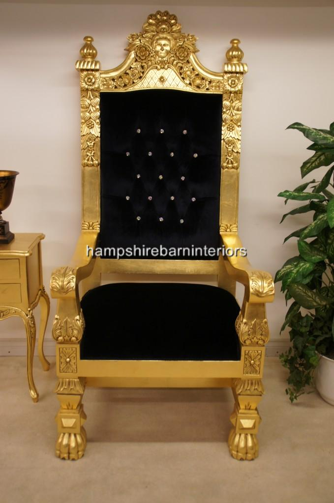 A QUEENS THRONE CHAIRGOLD LEAF BLACK VELVET AND DIAMOND