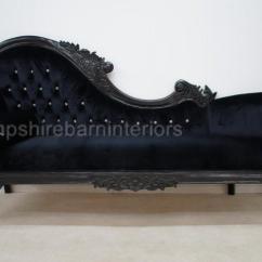 Black Sofa Chaise Longue Square Wooden Legs Beauty Crystal | Hampshire Barn Interiors