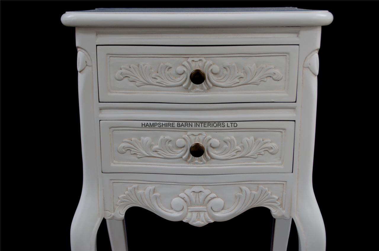 Chateau French Style White Painted Bedside Cabinet Or Lamp Table 2 Drawers Hampshire Barn