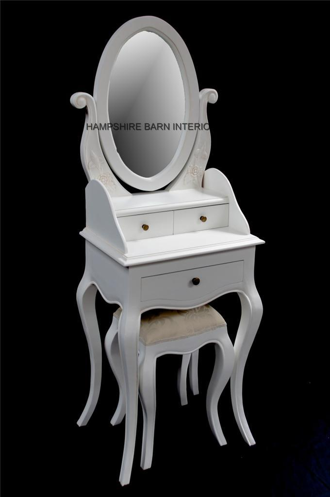Chateau French Style Antique White Small Dressing table includes mirror and stool  Hampshire