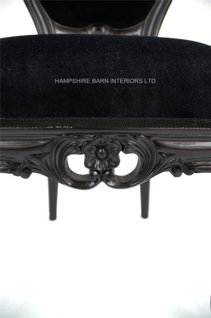 French Chateau Noir Style Ornate Chair Black Velvet