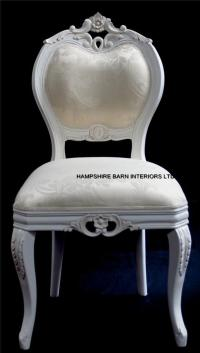 Chateau French Style Boudoir Ornate White Chair ..dining ...