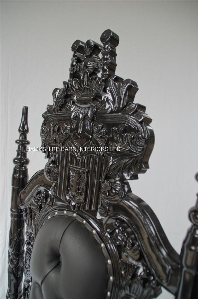 black gothic throne chair best computer for gaming lion sexy faux leather with silver a upholstery studs