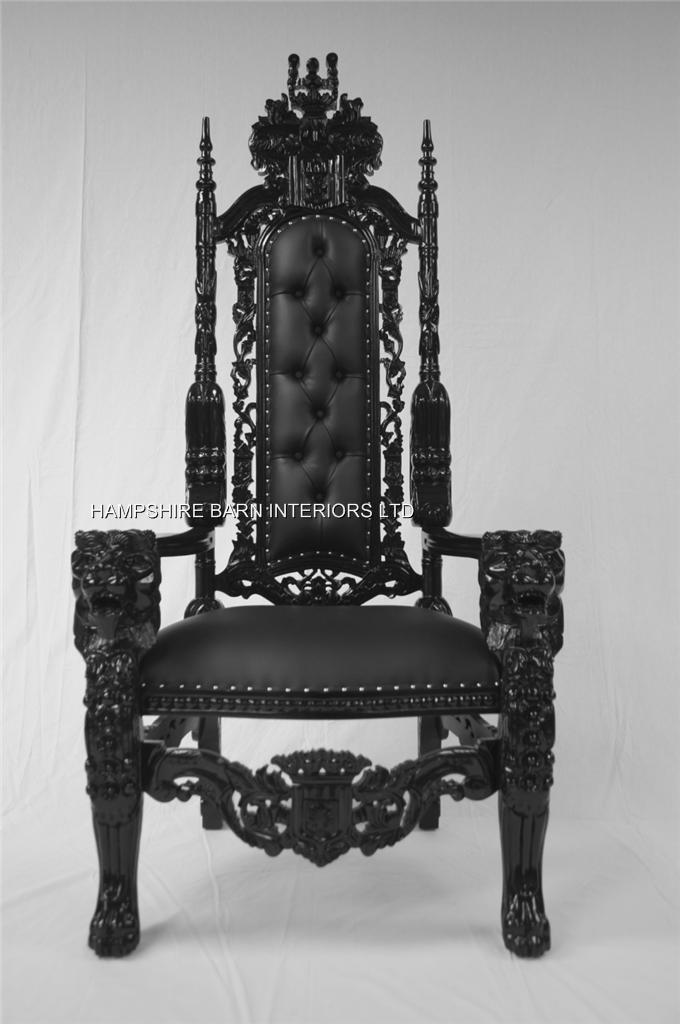 custom made throne chairs white tufted dining black gothic lion chair sexy faux leather with silver upholstery studs | hampshire ...