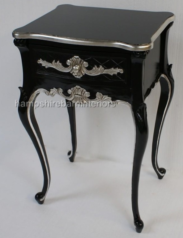 small bedroom occasional chair bouncy for babies reviews a beautiful one drawer ornate black & silver side cabinet lamp table | hampshire barn interiors