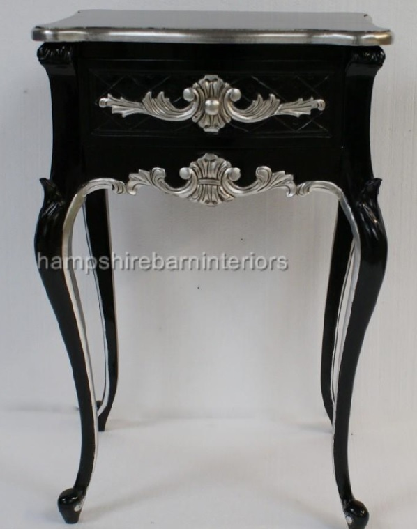 A Beautiful One Drawer Ornate Black  Silver Side cabinet Lamp Table  Hampshire Barn Interiors