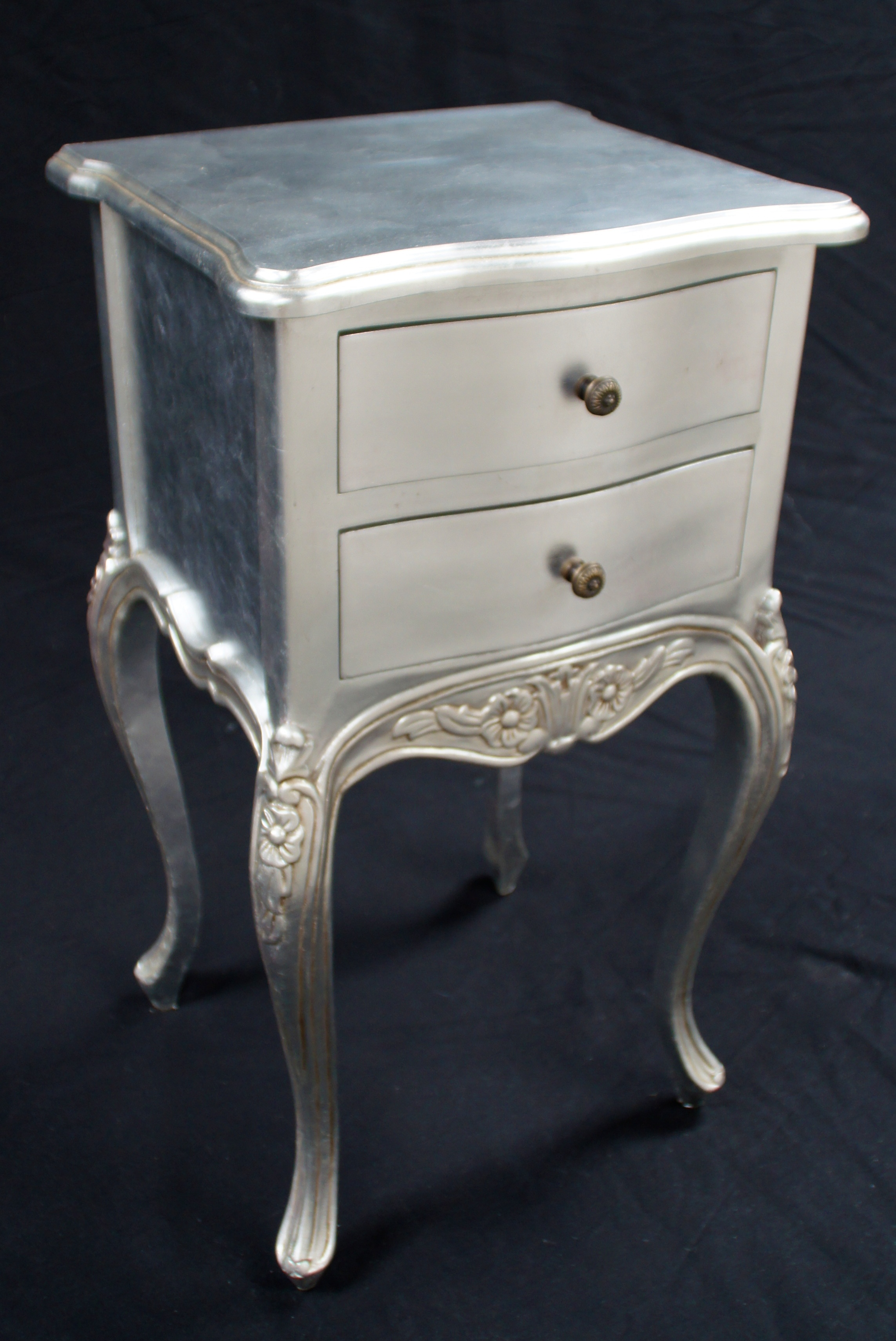 small bedroom occasional chair cover rental agreement a beautiful parisian ornate two drawer lamp side table or bedside cabinet shown in silver leaf ...