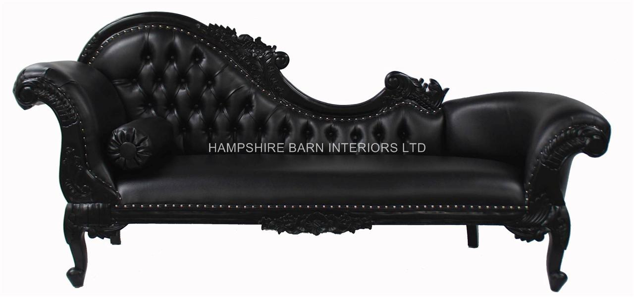 sofa bed with chaise longue uk american leather sleeper craigslist black large faux | hampshire barn interiors