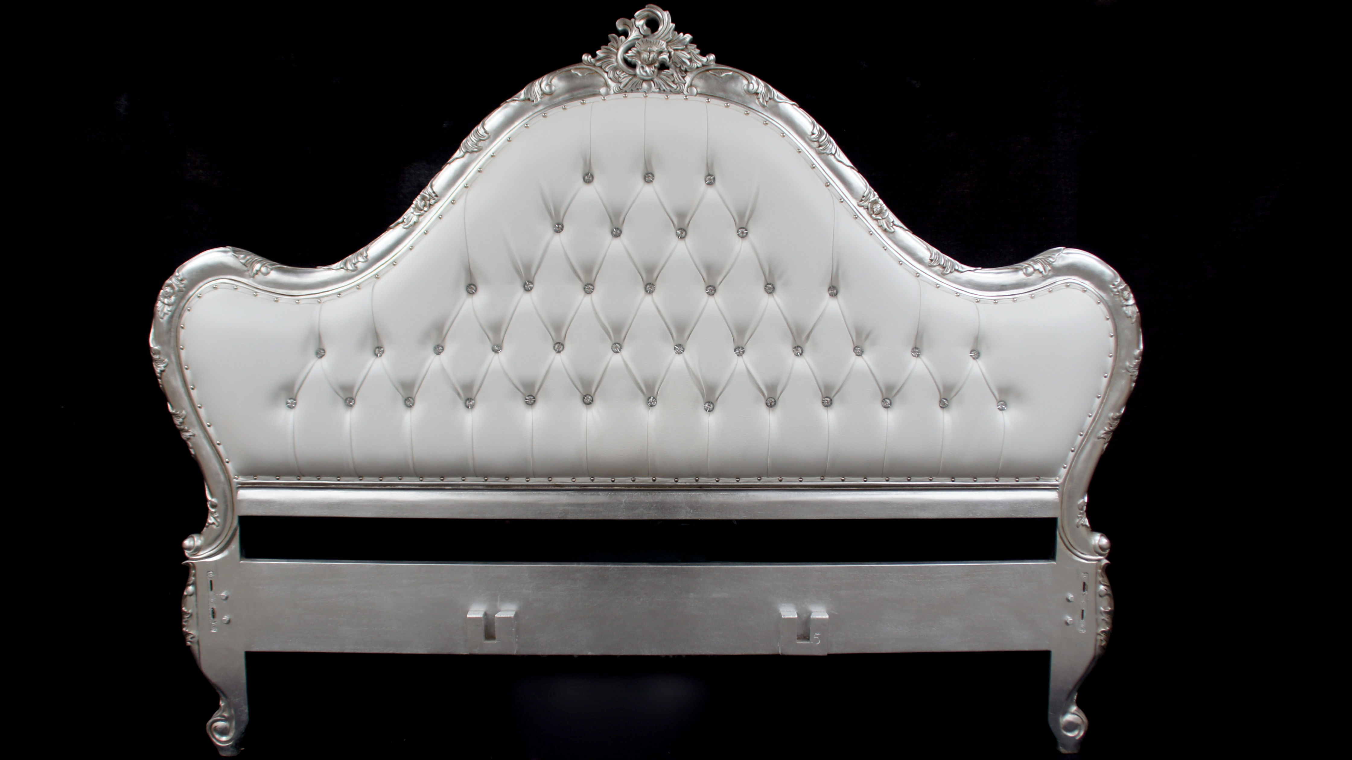 A Charles French Louis Style Bed In Silver Leaf And
