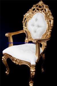 A A ORNATE ROYAL PALACE THRONE CHAIR IN GOLD LEAF FRAME ...
