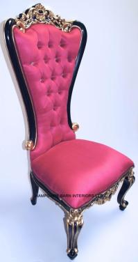 A 1 FUCHSIA PINK CHAIR DINING THRONE BLACK AND GOLD