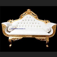 Wedding Sofa Modern Chairs Design A Ornate Royal Palace In Gold Leaf Frame And Ivory Cream Fabric With Crystal
