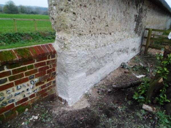 Chalk cob wall conservation