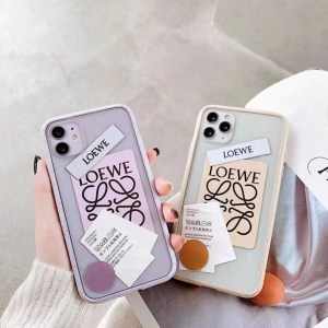 ロエベ iphone12ケース 挟む LOEWE iphone12pro max クリア ケース アレンジ アイフォン11pro max/11proケース ステッカー 韓国 iphonexs max/xr/8plus 携帯ケース 人気 女子
